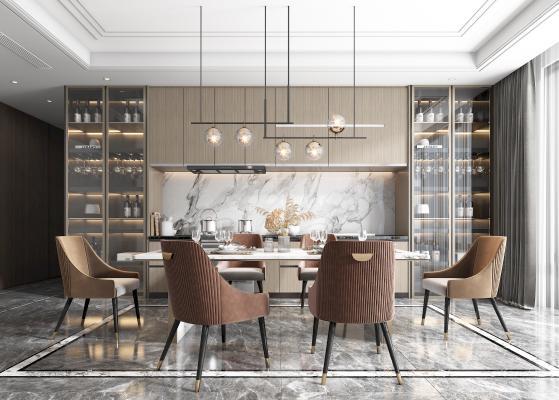 现代轻奢开放式厨房 餐厅 餐桌 餐椅