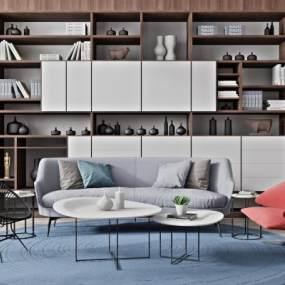 现代沙发茶几组合3D模型【ID:644488772】