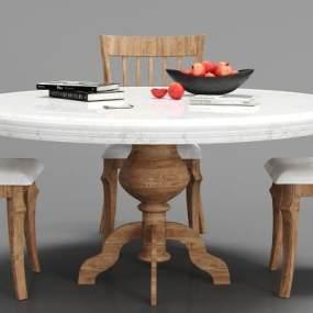 新中式餐桌椅組合3D模型【ID:834725897】