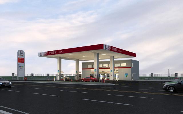 现代加油站3D模型【ID:144039975】