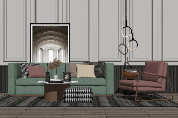 現代輕奢客廳沙發茶幾組合SU模型【ID:453850113】