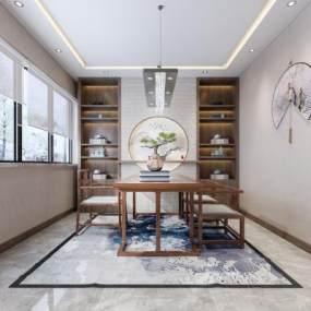 新中式書房茶室3D模型【ID:550871498】