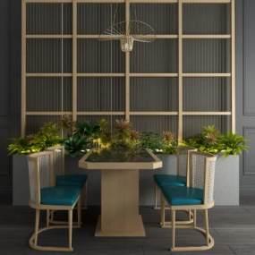 新中式休闲餐桌椅屏风隔断扇子吊灯组合 3D模型【ID:841403810】