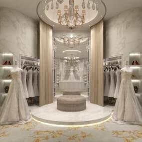 欧式婚纱店3D模型【ID:930558957】