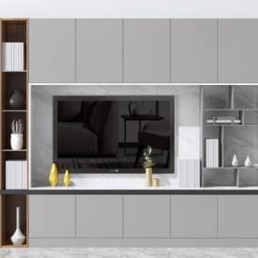 现代电视造型墙3D模型【ID:945518942】