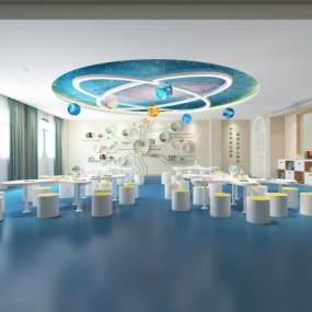 现代幼儿园教室活动室3D模型【ID:935940667】