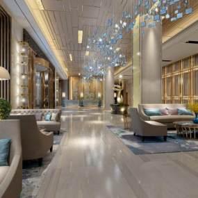 现代酒店大堂3D模型【ID:731447084】