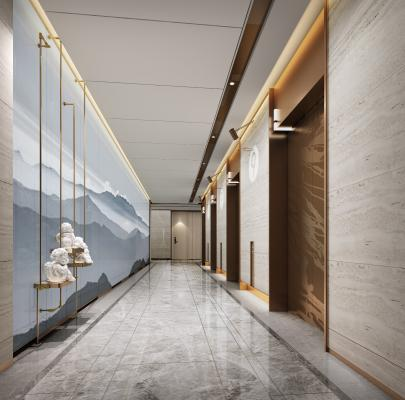 现代酒店公寓电梯厅3D模型【ID:746976629】