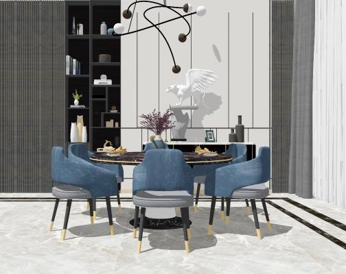 现代圆形餐桌椅组合SU模型【ID:653048647】