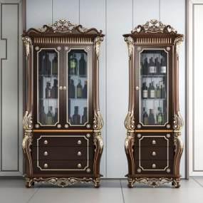 新古典奢华酒柜3D模型【ID:644830244】