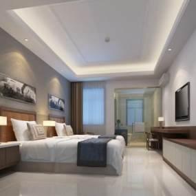 现代酒店客房3D模型【ID:734739316】