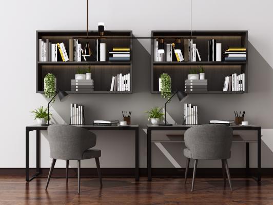 现代书桌椅组合 书籍摆件 艺术吊灯