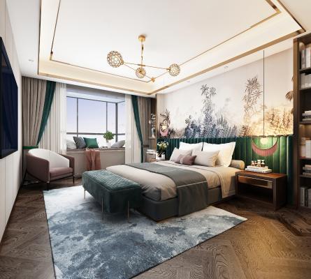 现代卧室3D模型【ID:541431291】