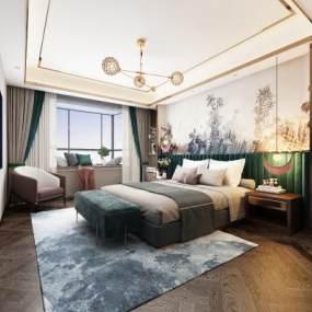 现代卧室 3D模型【ID:541431291】