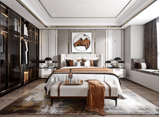 现代轻奢卧室3D模型【ID:544333206】