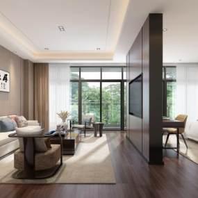 新中式会客厅起居室3D模型【ID:935433444】