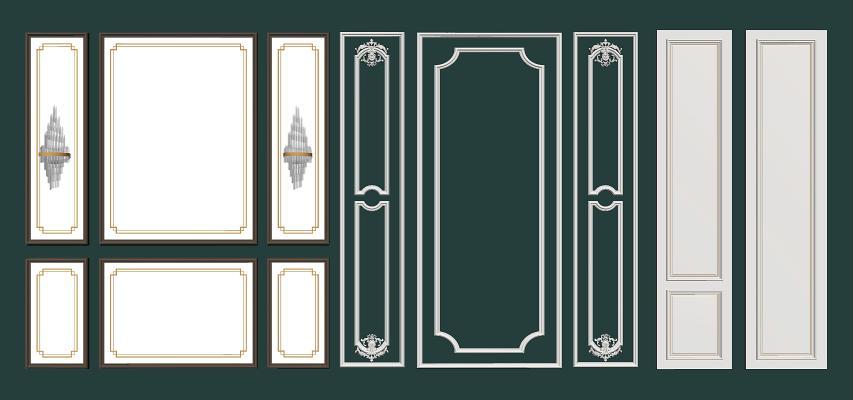 简欧式护墙板组合SU模型【ID:950915114】