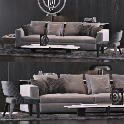 意大利Minotti米洛提現代布藝雙人沙發單椅茶幾組合國外3D模型【ID:636031513】