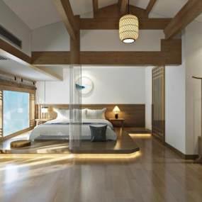 新中式禅意客栈客房3D模型【ID:732860356】