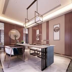 新中式茶室3D模型【ID:644381135】