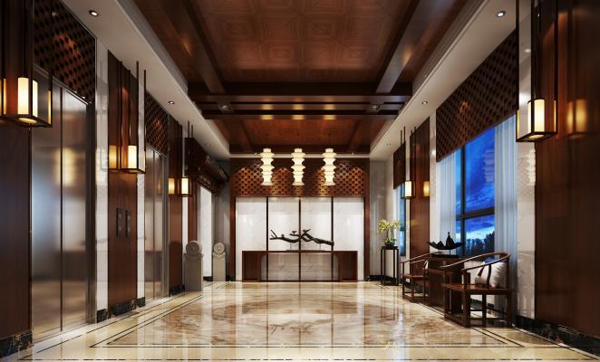 新中式酒店电梯间 过道