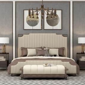 现代双人床挂画吊灯组合3D模型【ID:631312179】
