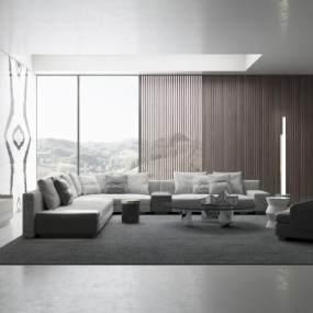 现代沙发组合3D模型【ID:644394777】