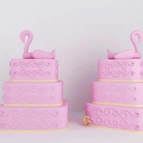 现代粉色火烈鸟蛋糕装饰3D模型【ID:635805399】