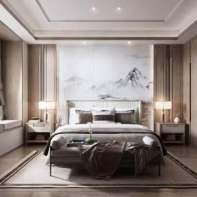 新中式卧室3D模型【ID:542699258】