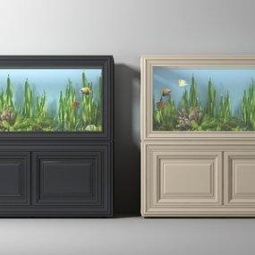 现代鱼缸组合3D模型【ID:235774522】