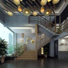 新中式前台大厅3D模型【ID:632473992】