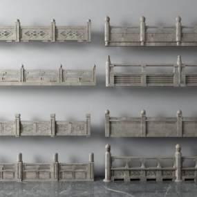 传统中式栏杆楼梯扶梯扶手3D模型【ID:335480511】