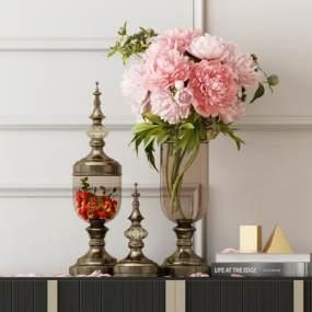 欧式玻璃金属花瓶书籍摆件 3D模型【ID:241753501】