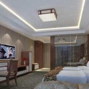 现代酒店客房3D模型【ID:746694387】
