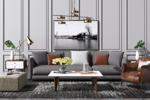 现代布艺沙发 茶几组合 艺术吊灯 休闲单人椅子