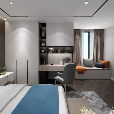现代简约卧室 柜子 衣柜 书桌