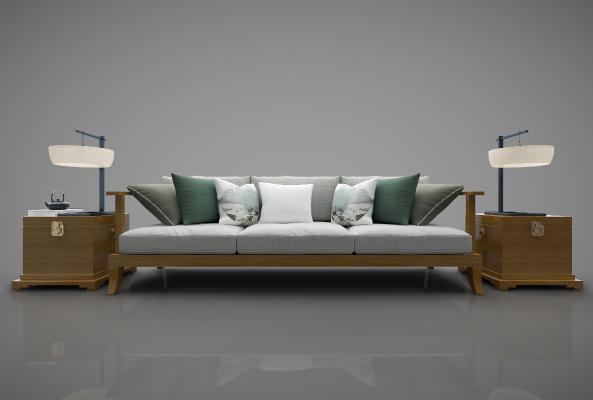 新中式沙發3D模型【ID:644105684】