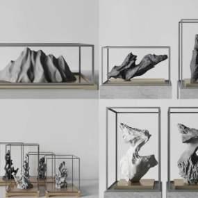 新中式雕塑饰品组合3D模型【ID:235944588】