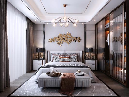 现代卧室3D模型【ID:543853275】