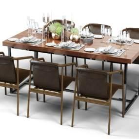 现代餐桌椅组合3D模型【ID:836325862】