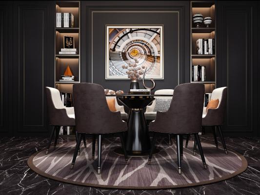 现代轻奢餐桌椅组合3D模型【ID:845867835】
