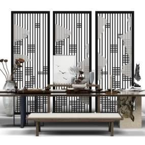 新中式泡茶桌組合3d模型【ID:842355991】