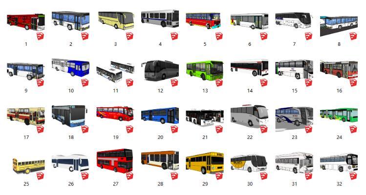 現代巴士客車公交車合集SU模型【ID:552120022】