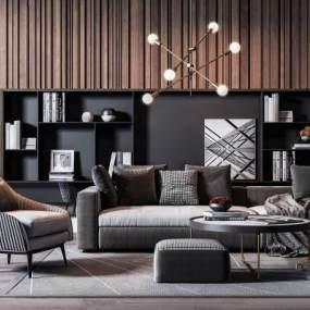现代高级灰沙发椅子茶几组合3D快三追号倍投计划表【ID:634429762】
