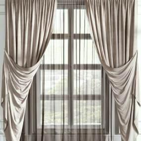现代窗帘3D模型【ID:232924624】