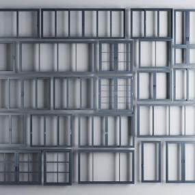 现代铝合金窗户窗框组合3D模型【ID:331618205】