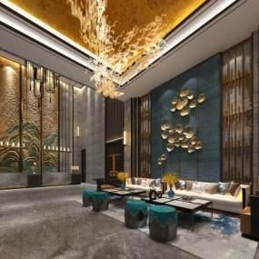 新中式酒店大堂3D模型【ID:752598047】
