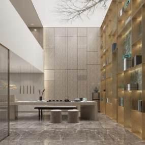 現代輕奢茶室3D模型【ID:648359195】