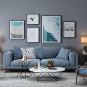 北欧双人沙发3D模型【ID:630676502】