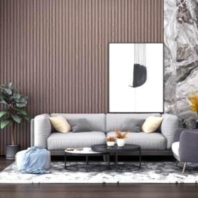 现代沙发茶几组合3D模型【ID:631487735】